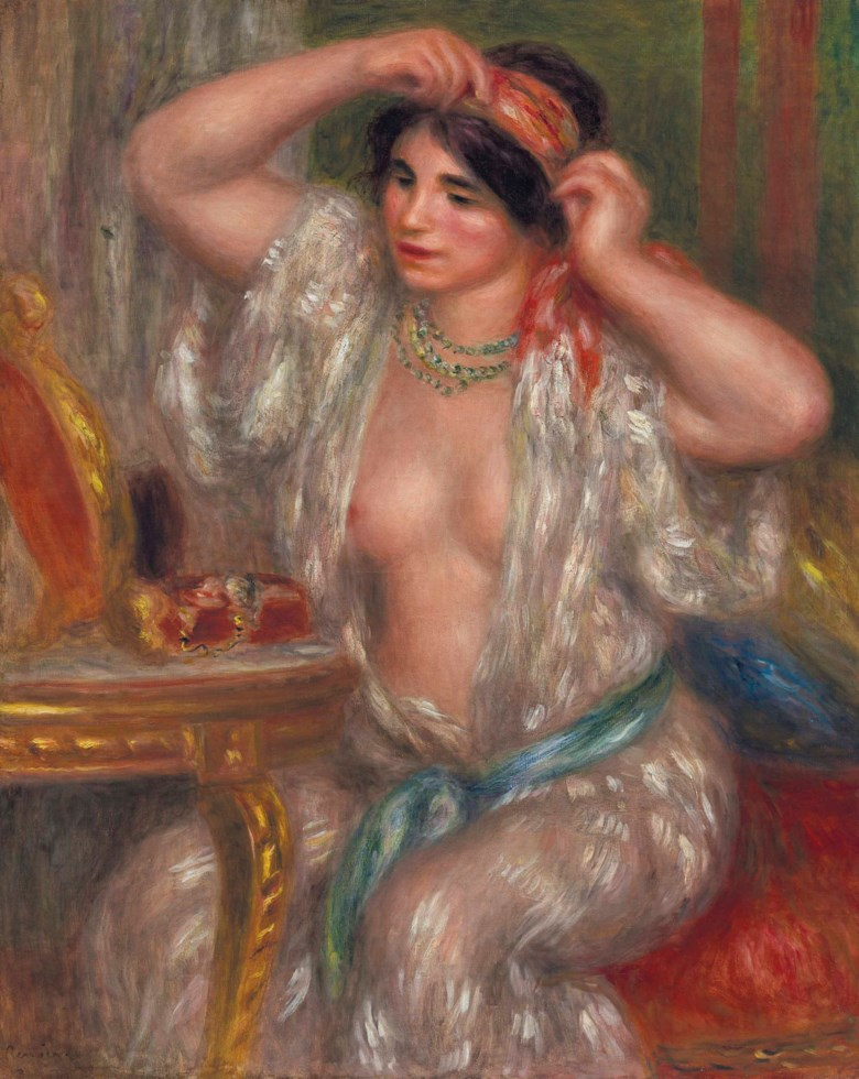 Pierre-Auguste Renoir (1841-1919), Gabrielle au miroir, painted circa 1910. 31⅞ x 25½  in (81.1 x 64.7  cm). Sold for $9,087,500 on 8 May 2018 at Christie's in New York