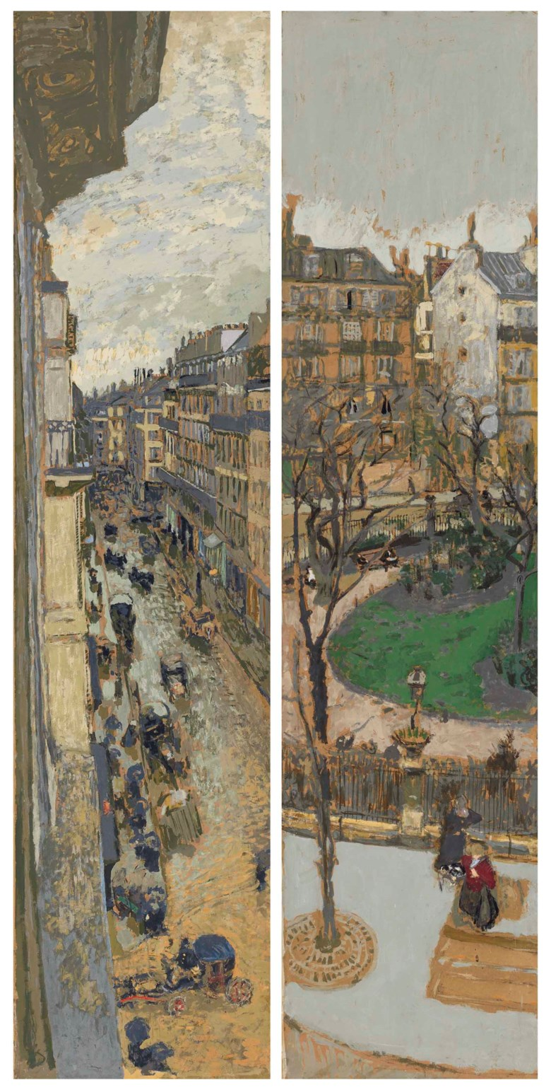 Edouard Vuillard (1868-1940), Les rues de Paris, panneaux pour Henry Bernstein Seconde série, La Place Vintimille. Peinture à la colle over charcoal on paper laid down on panel. 78¾ x 19⅝ in (200 x 49.6  cm). Sold for $3,852,500 on 8 May 2018 at Christie's in New York