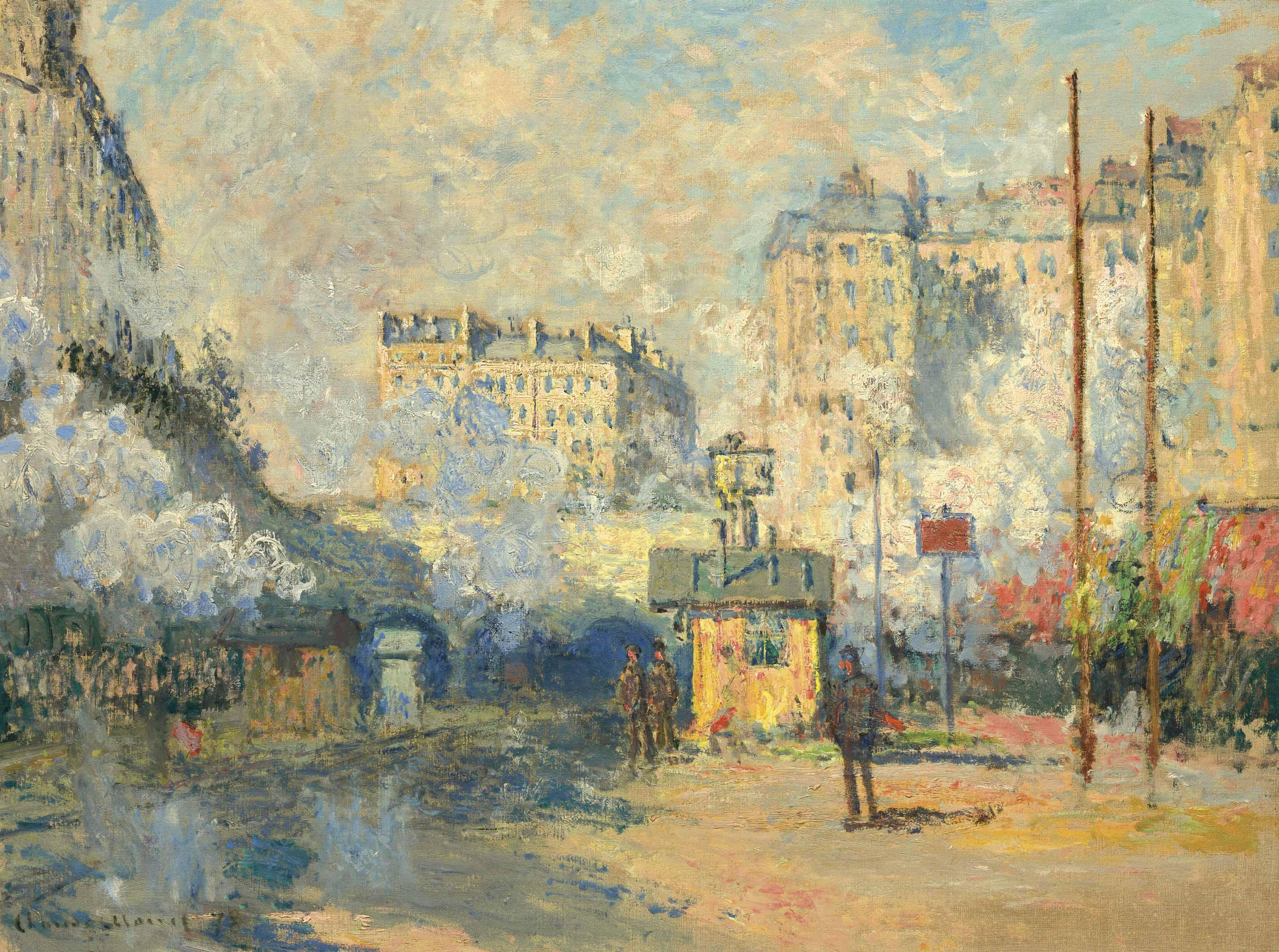 Extérieur de la gare Saint-Lazare, effet de soleil