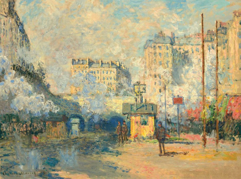 Claude Monet (1840-1926), Extérieur de la gare Saint-Lazare, effet de soleil, painted in Paris, 1877. 24⅛ x 31¾  in (61.3 x 80.7  cm). Sold for $32,937,500 on 8 May 2018 at Christie's in New York