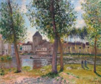 Les peupliers à Moret-sur-Loing, après midi d'août