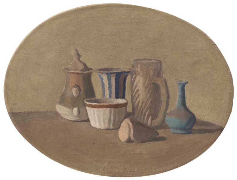 Giorgio Morandi (1890-1964), Natura morta, painted in 1940. Oval 14¾ x 19⅝ in (37.5 x 50 cm). Sold for $4,332,500 on 8 May 2018 at Christie's in New York © DACS 2019
