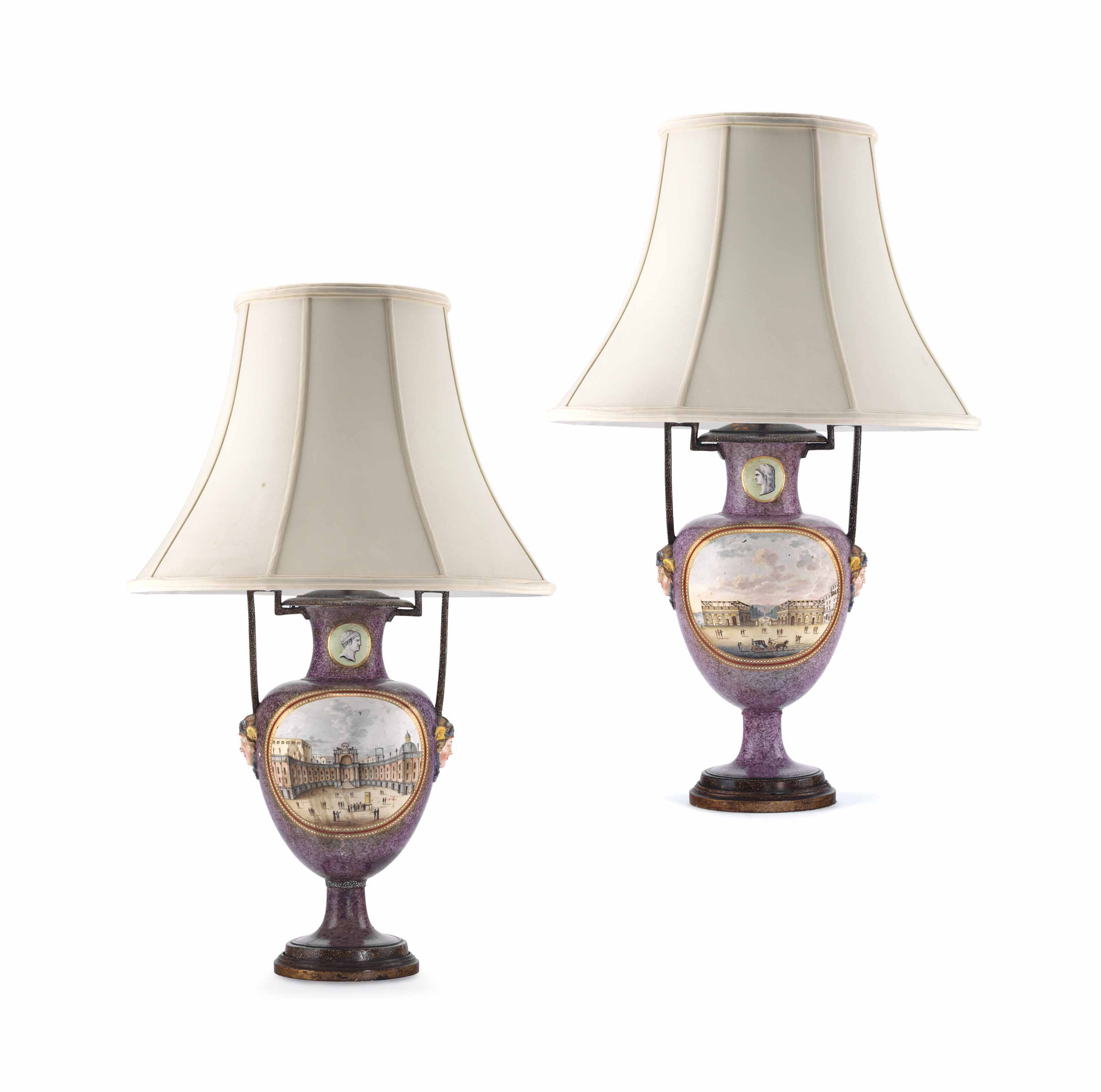 A PAIR OF NAPLES PORCELAIN TWO-HANDLED FAUX PORPHYRY-GROUND TOPOGRAPHICAL VASES MOUNTED AS LAMPS