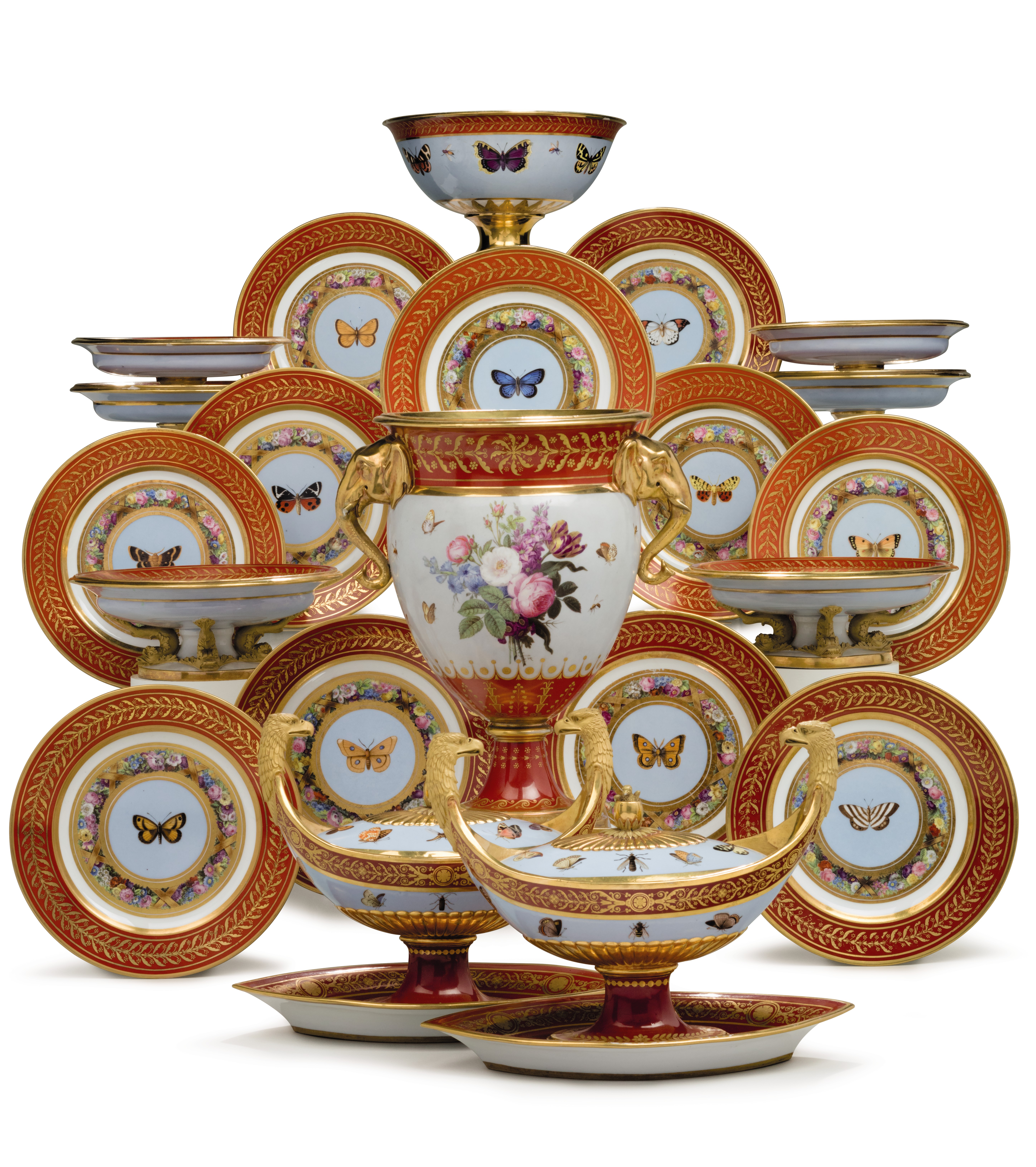 THE 'MARLY ROUGE' SERVICE: A SEVRES PORCELAIN IRON-RED AND SKY-BLUE GROUND PART DESSERT SERVICE MADE FOR NAPOLEON I