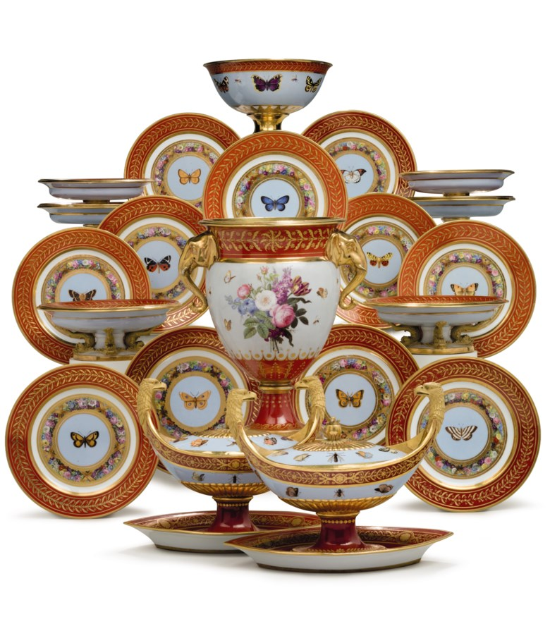 The Marly Rouge service a Sevres Porcelain iron-red and sky-blue ground part dessert service made for Napoleon I, Circa 1807-09. Estimate $150,000-250,000. This lot is offered in The Collection of David and Peggy Rockefeller English & European Furniture, Ceramics & Decorations, Part I on 9 May at Christie's in New York