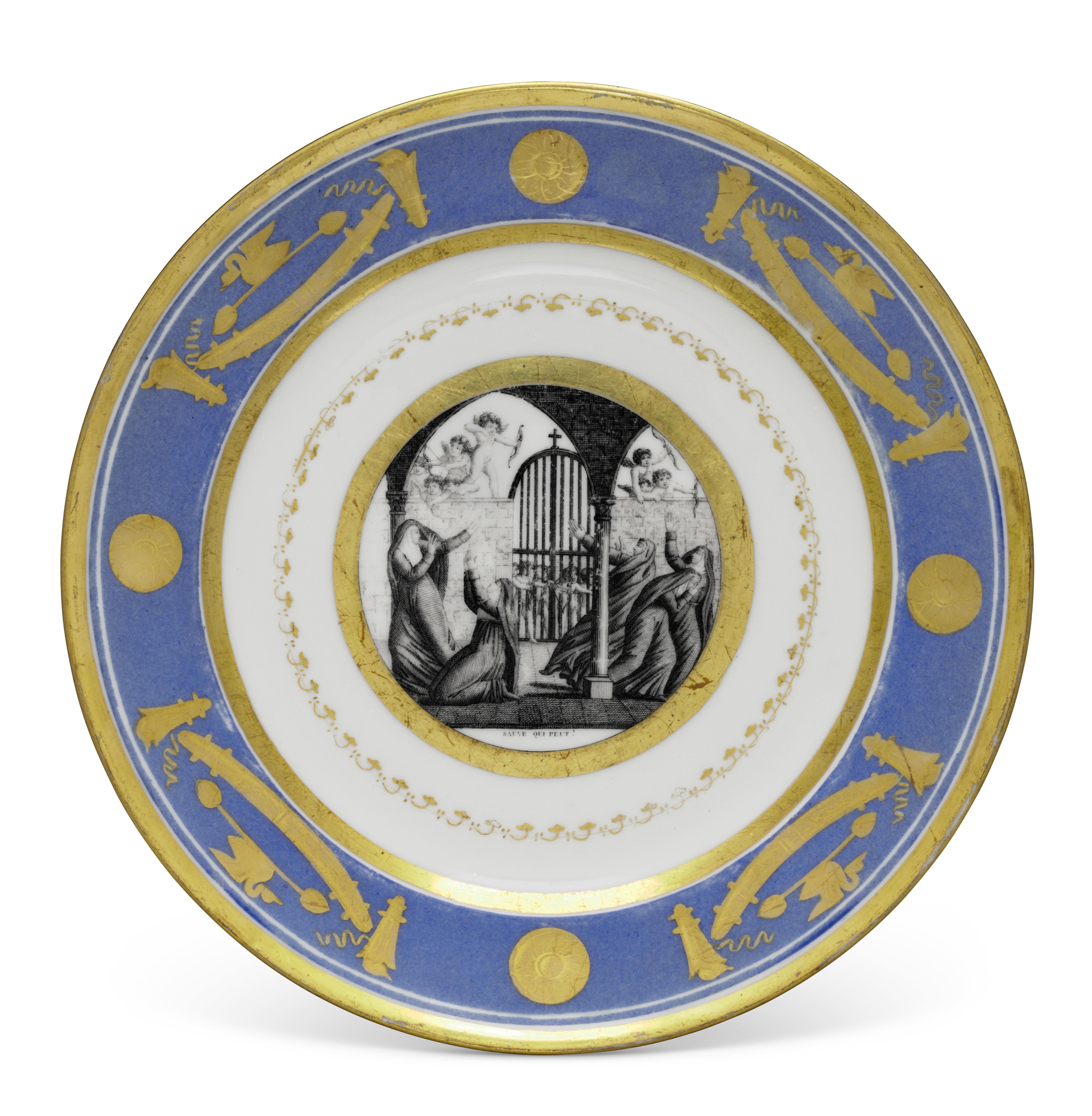 A PARIS (SCHOLCHER) PORCELAIN POWDER-BLUE GROUND PART DESSERT SERVICE