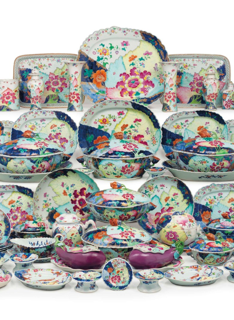 A large Chinese Export 'tobacco leaf' assembled dinner service, Qianlong period, circa 1775. Sold for $1,152,500 on 9 May 2018 at Christie's in New York — a new auction record for a dinner service