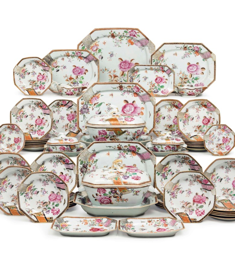 A Chinese export famille rose porcelain dinner service, Qianlong period, circa 1770. Estimate $60,000-80,000. This lot is offered in The Collection of David and Peggy Rockefeller English & European Furniture, Ceramics & Decorations, Part I on 9 May at Christie's in New York