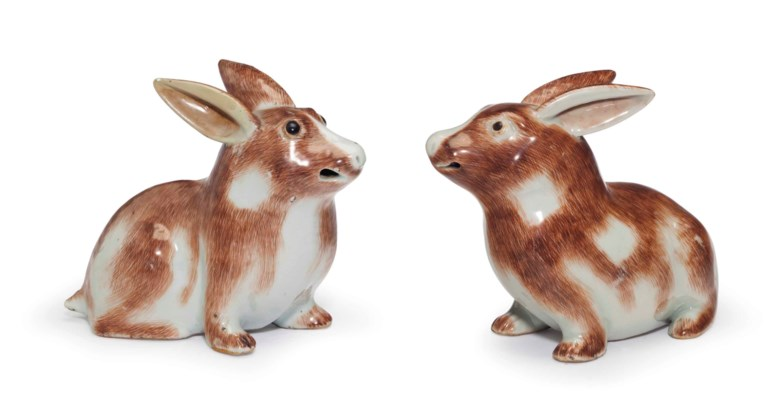 A pair of Chinese export rabbits, Qianlong period (1736-95). 5½  in (14  cm) high. Estimate $10,000-15,000. This lot is offered in The Collection of David and Peggy Rockefeller English & European Furniture, Ceramics & Decorations, Part I on 9 May at Christie's in New York