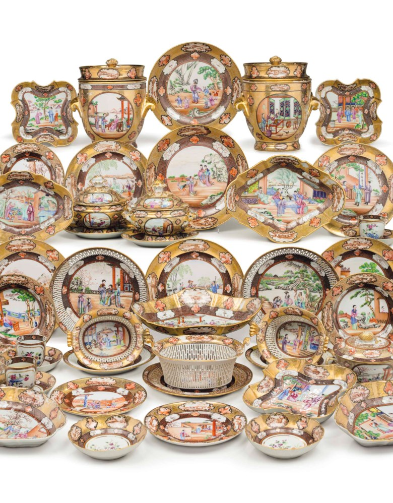 A Chinese Export Rockefeller Pattern assembled dinner service, Jiaqing period, circa 1805. Estimate $100,000-150,000. This lot is offered in The Collection of David and Peggy Rockefeller English & European Furniture, Ceramics & Decorations, Part I on 9 May at Christie's in New York