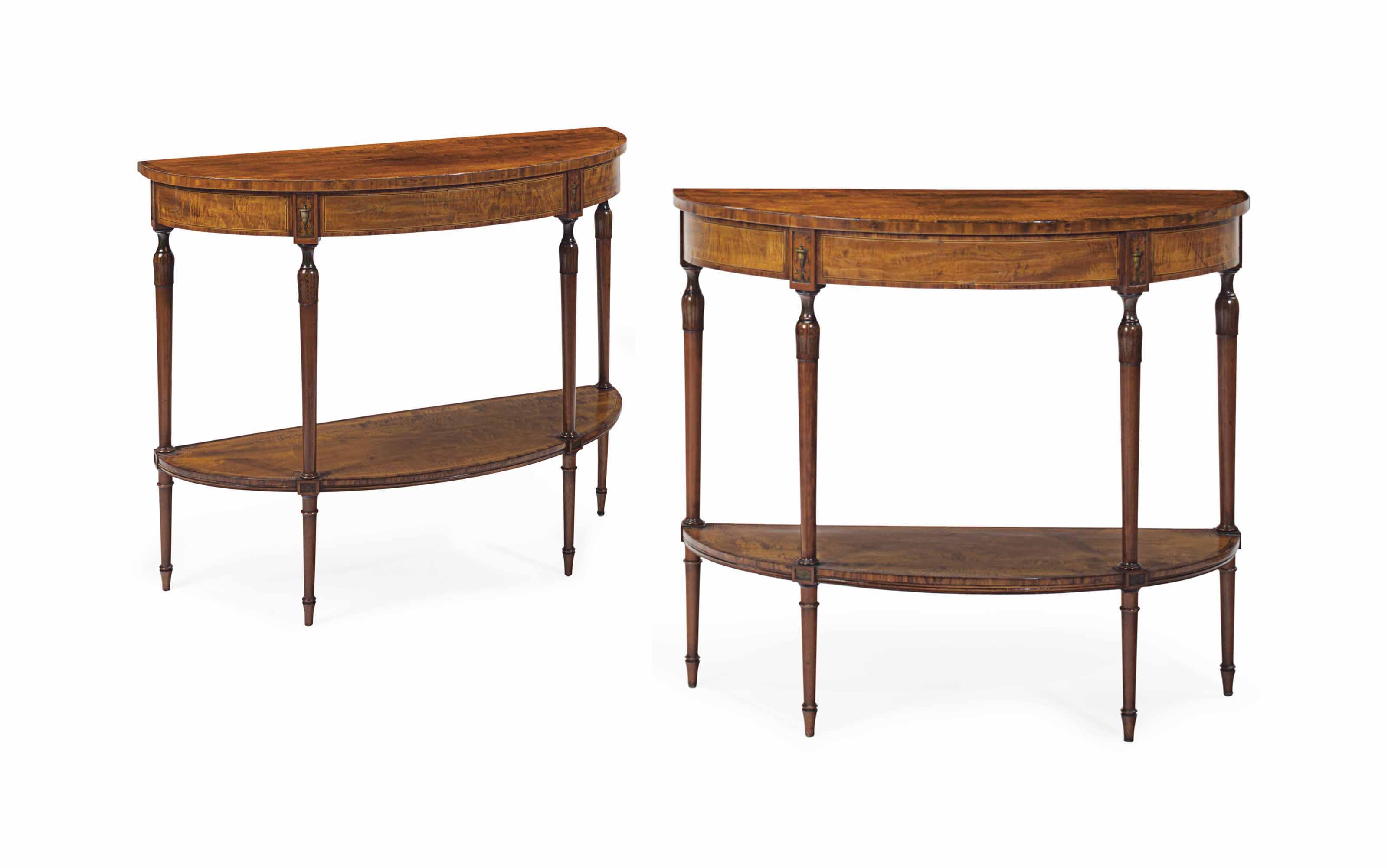 A PAIR OF GEORGE III SATINWOOD, KINGWOOD AND POLYCHROME-PAINTED SIDE TABLES