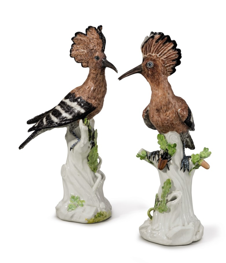 Two Meissen porcelain models of hoopoes (wiedehopf), circa 174, modeled by J.J. Kändler. 12 ¼ in (31 cm) high. Estimate $20,000-30,000. This lot is offered in The Collection of David and Peggy Rockefeller English & European Furniture, Ceramics & Decorations, Part I on 9 May at Christie's in New York