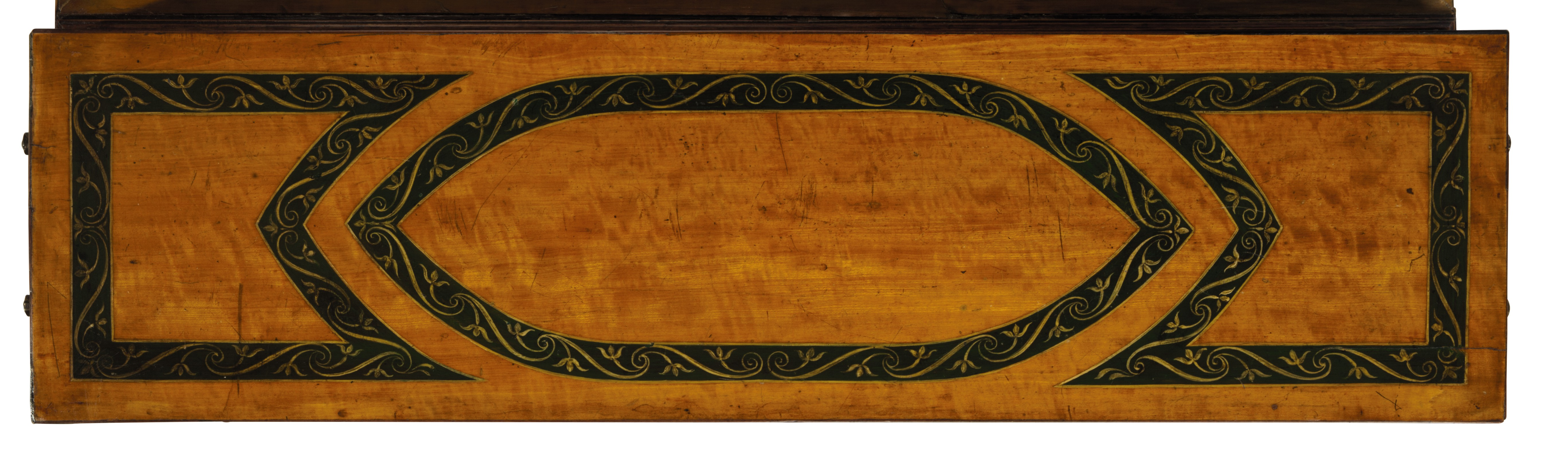 A LATE GEORGE III POLYCHROME-PAINTED SATINWOOD DOUBLE-SIDED WRITING TABLE