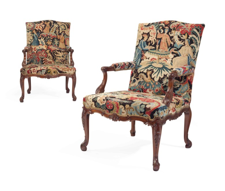 A pair of George II solid mahogany library armchairs, attributed to Wright and Elwick, circa 1755. Estimate $50,000-80,000. This lot is offered in The Collection of David and Peggy Rockefeller English & European Furniture, Ceramics & Decorations, Part I on 9 May at Christie's in New York