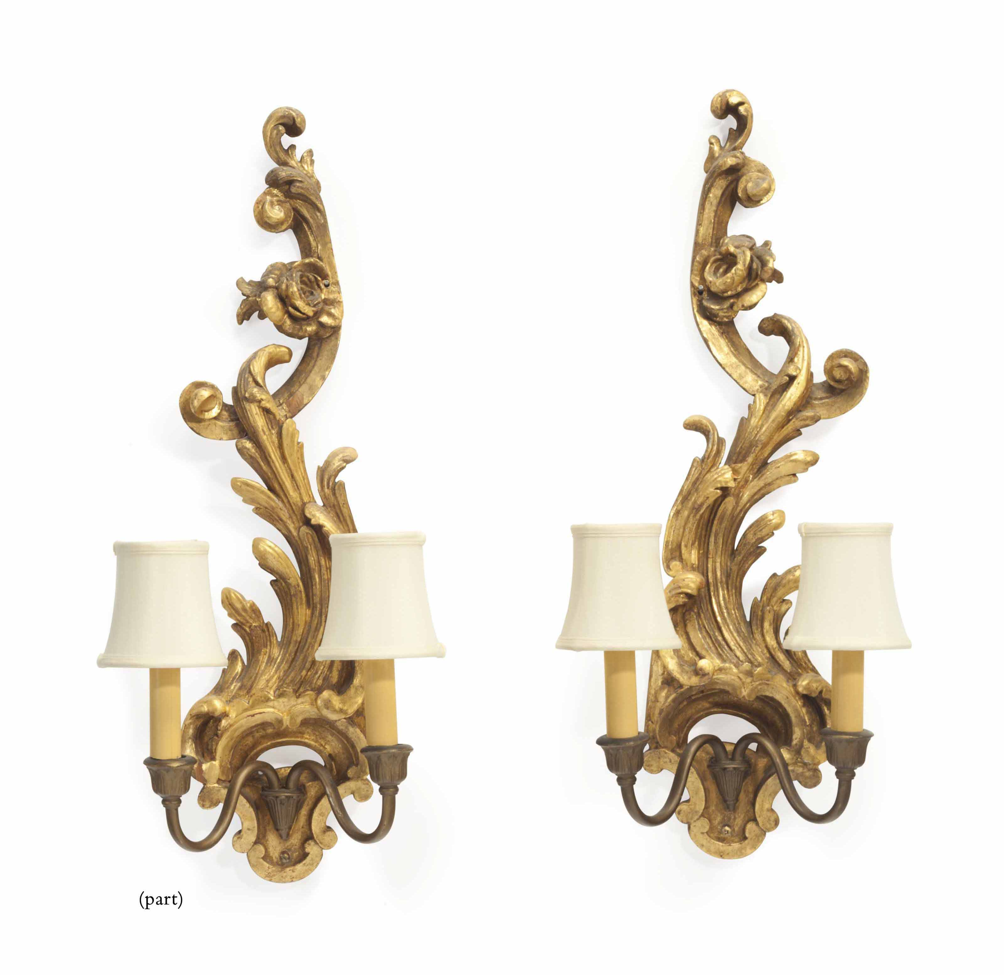 A set of four rococo giltwood twin branch wall lights 20th century a set of four rococo giltwood aloadofball Gallery