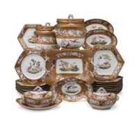 A SPODE PORCELAIN CAFE-AU-LAIT GROUND 'WHITE BAIT' PART DESSERT SERVICE