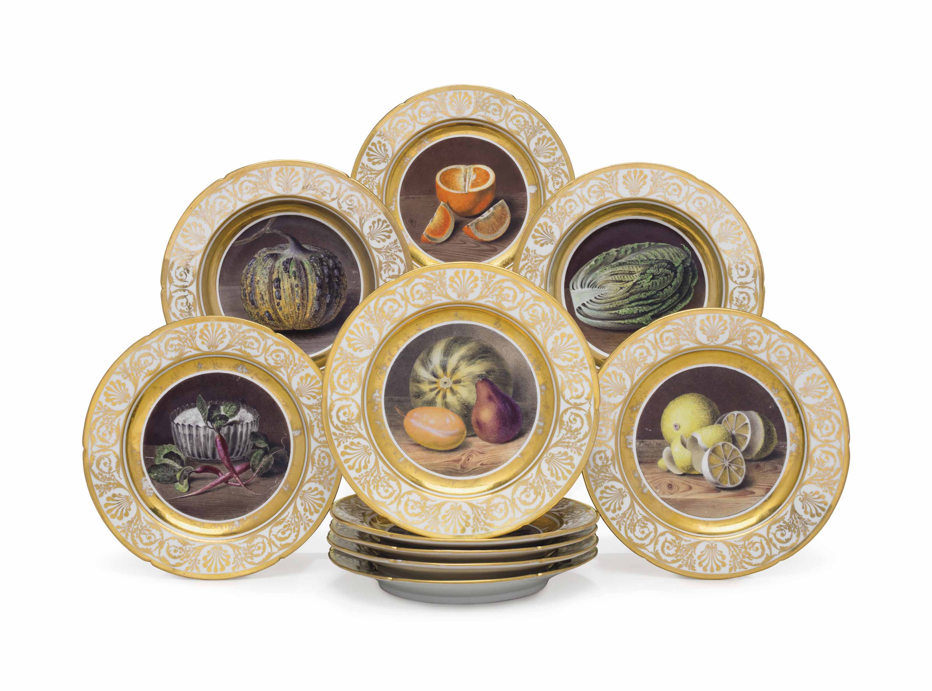 A SET OF EIGHT COALPORT PORCELAIN DINNER PLATES AND THREE SOUP ...