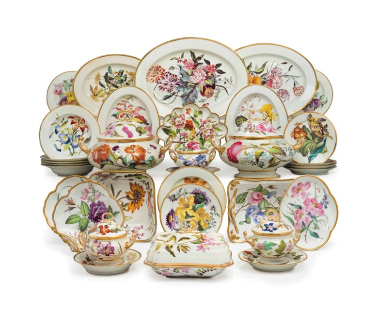 A Derby porcelain botanical part dinner and dessert service, circa 1815. Iron-red crowned crossed batons and script D marks, the painting ascribed to Quaker Pegg. Estimate $25,000-35,000. This lot is offered in The Collection of David and Peggy Rockefeller English & European Furniture, Ceramics & Decorations, Part I on 9 May at Christie's in New York