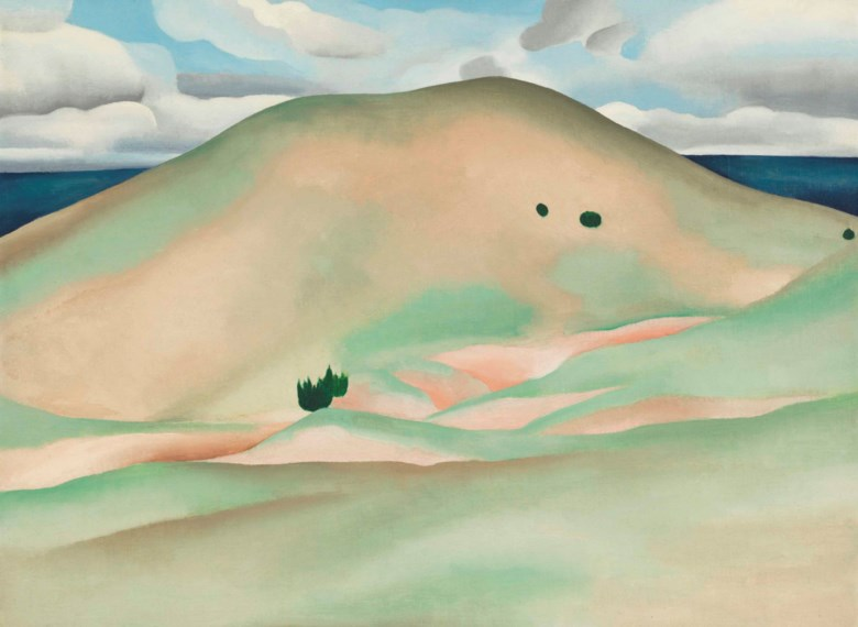 Georgia OKeeffe (1887-1986), New Mexico — Near Taos, 1929. Oil on canvas laid down on board. 17¾ x 23⅞  in (45.1 x 60.7  cm). Estimate $2,000,000-3,000,000. This lot is offered in The Collection of Peggy and David Rockefeller Art of the Americas, Evening Sale on 9 May at Christie's in New York © 2018 Georgia OKeeffe Museum  Artists Rights Society (ARS), New York