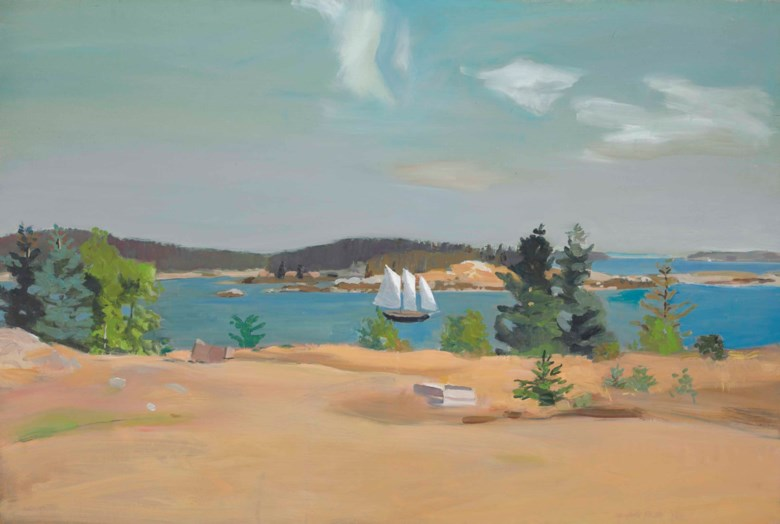 Fairfield Porter (1907-1975), The Schooner II, 1965. Oil on canvas. 37⅛ x 54⅛  in (94.2 x 137.5  cm). Estimate $1,000,000-1,500,000. This lot is offered in The Collection of Peggy and David Rockefeller Art of the Americas, Evening Sale on 9 May at Christie's in New York© 2018 The Estate of Fairfield Porter  Artists Rights Society (ARS), New York