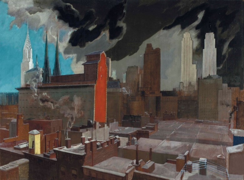 Stefan Hirsch (1899-1964), Midtown Range, painted in 1931. 26¾ x 36  in (68 x 91.4  cm). Estimate $100,000-150,000. This lot is offered in The Collection of David and Peggy Rockefeller Art of the Americas, Evening Sale on 9 May at Christie's in New York