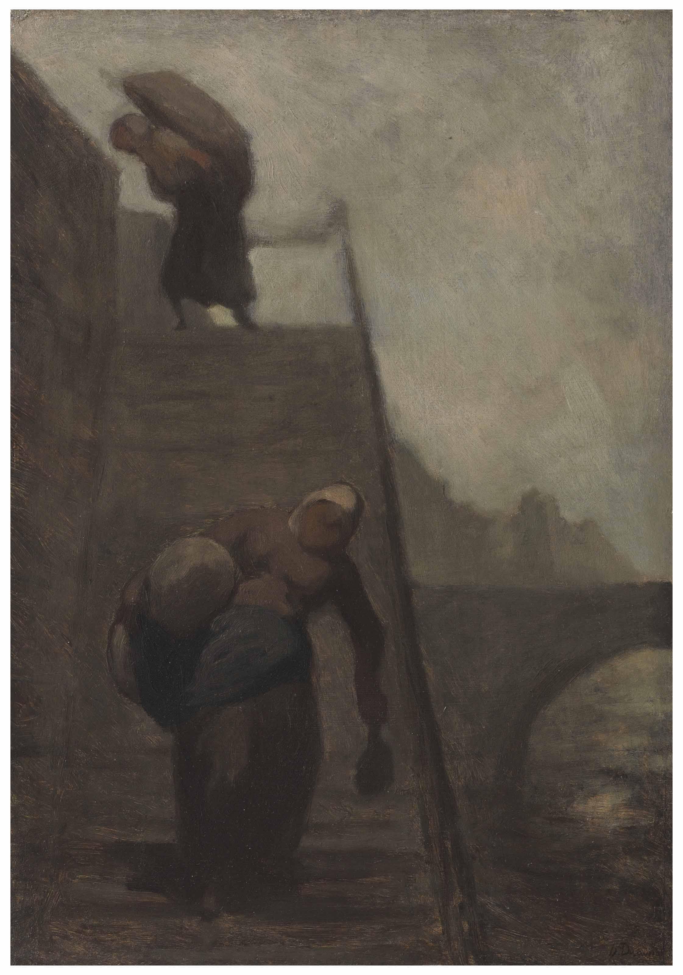 Les laveuses du quai d'Anjou (Les blanchisseuses—Les laveuses sur l'escalier)