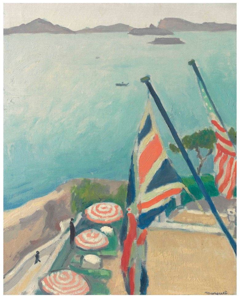 Albert Marquet (1875-1947), Terrasse aux drapeaux, Hôtel de la Réserve, 1919. 16 x 12⅞  in (40.6 x 32.7  cm). Estimate $200,000-300,000. This lot is offered in The Collection of David and Peggy Rockefeller Fine Art, Day Sale on 10 May at Christie's in New York