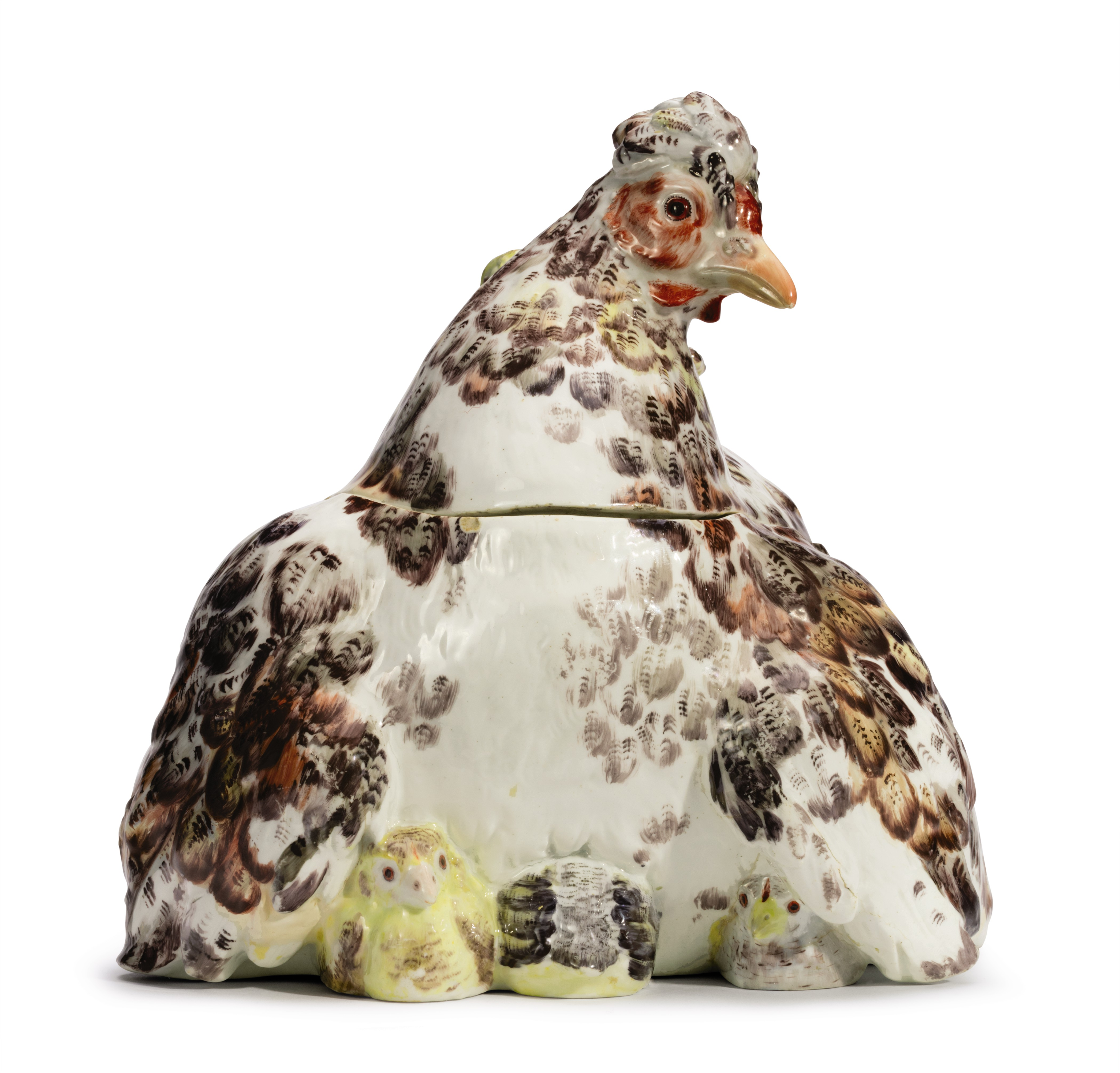 A CHELSEA PORCELAIN 'HEN AND CHICKENS' TUREEN AND COVER