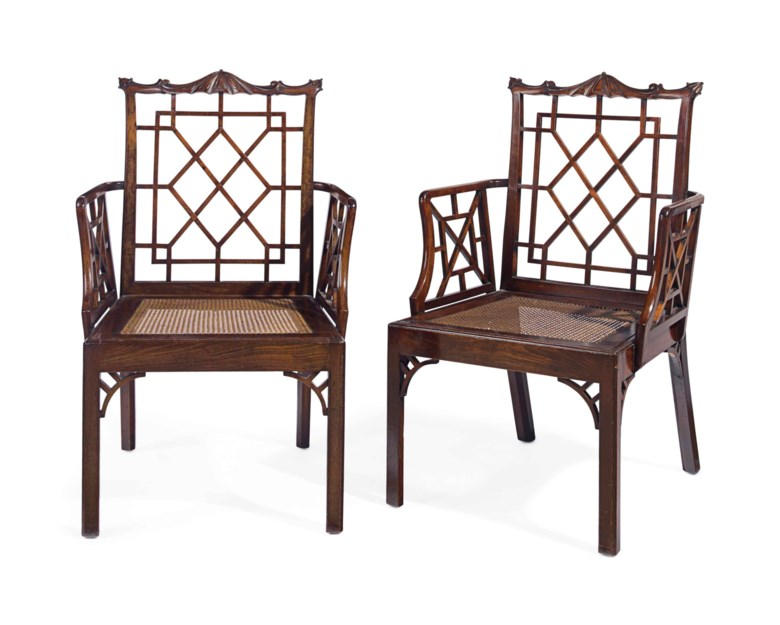 A pair of George II mahogany and padouk armchairs, possibly by Thomas Chippendale, circa 1755. Estimate $15,000-25,000. This lot is offered in The Collection of David and Peggy Rockefeller English & European Furniture, Ceramics & Decorations, Part II on 10 May at Christie's in New York