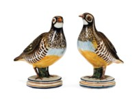 A PAIR OF ALCORA FAIENCE PARTRIDGE TUREENS AND TWO COVERS