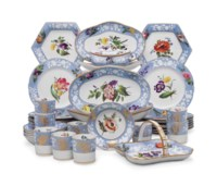 A SPODE PORCELAIN POWDER-BLUE GROUND PART DESSERT SERVICE