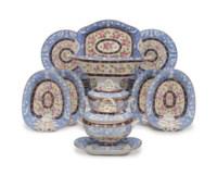 A NEW HALL PORCELAIN POWDER-BLUE AND COBALT-BLUE GROUND PART TEA SERVICE