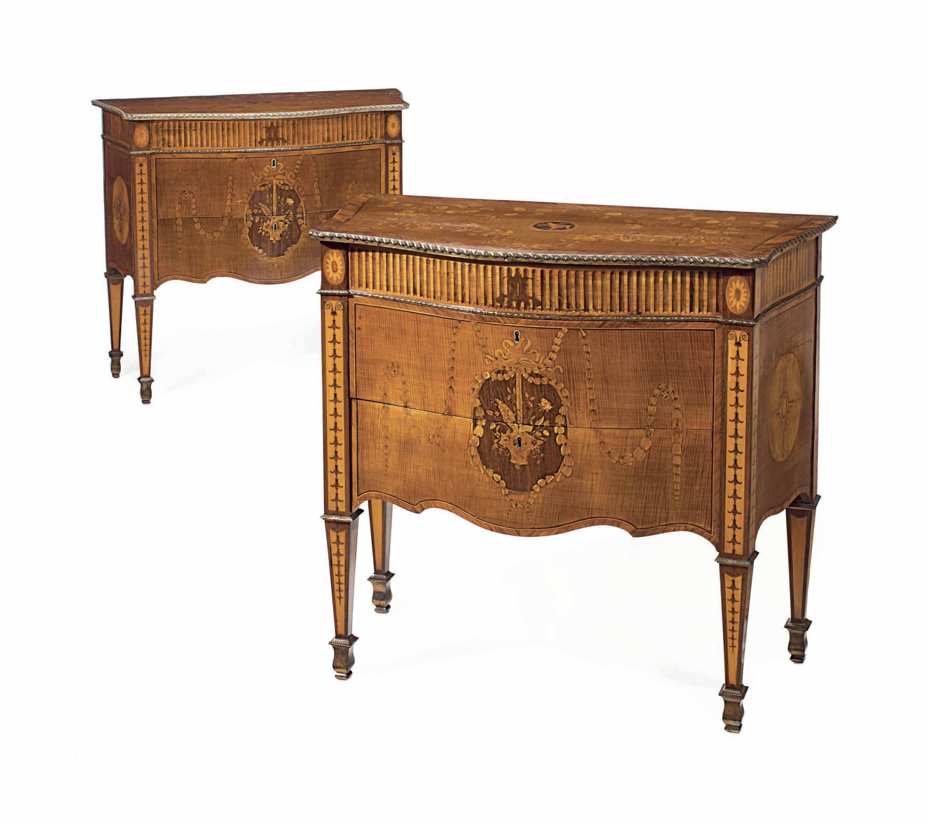 A PAIR OF GEORGE III LACQUERED-BRASS MOUNTED HAREWOOD, HOLLY, AMARANTH AND TULIPWOOD MARQUETRY COMMODES