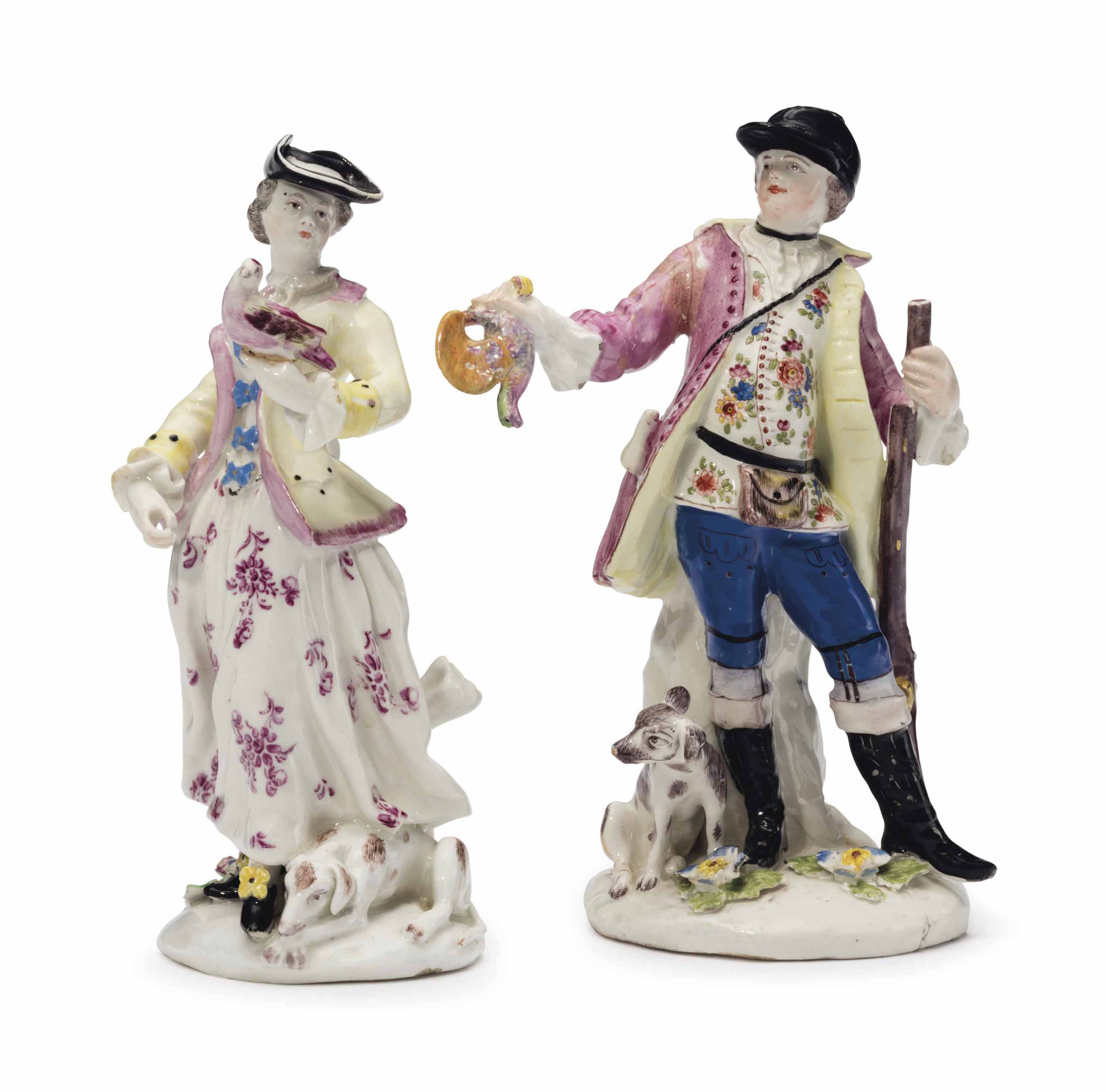 A PAIR OF BOW PORCELAIN FIGURES OF A SPORTSMAN AND COMPANION