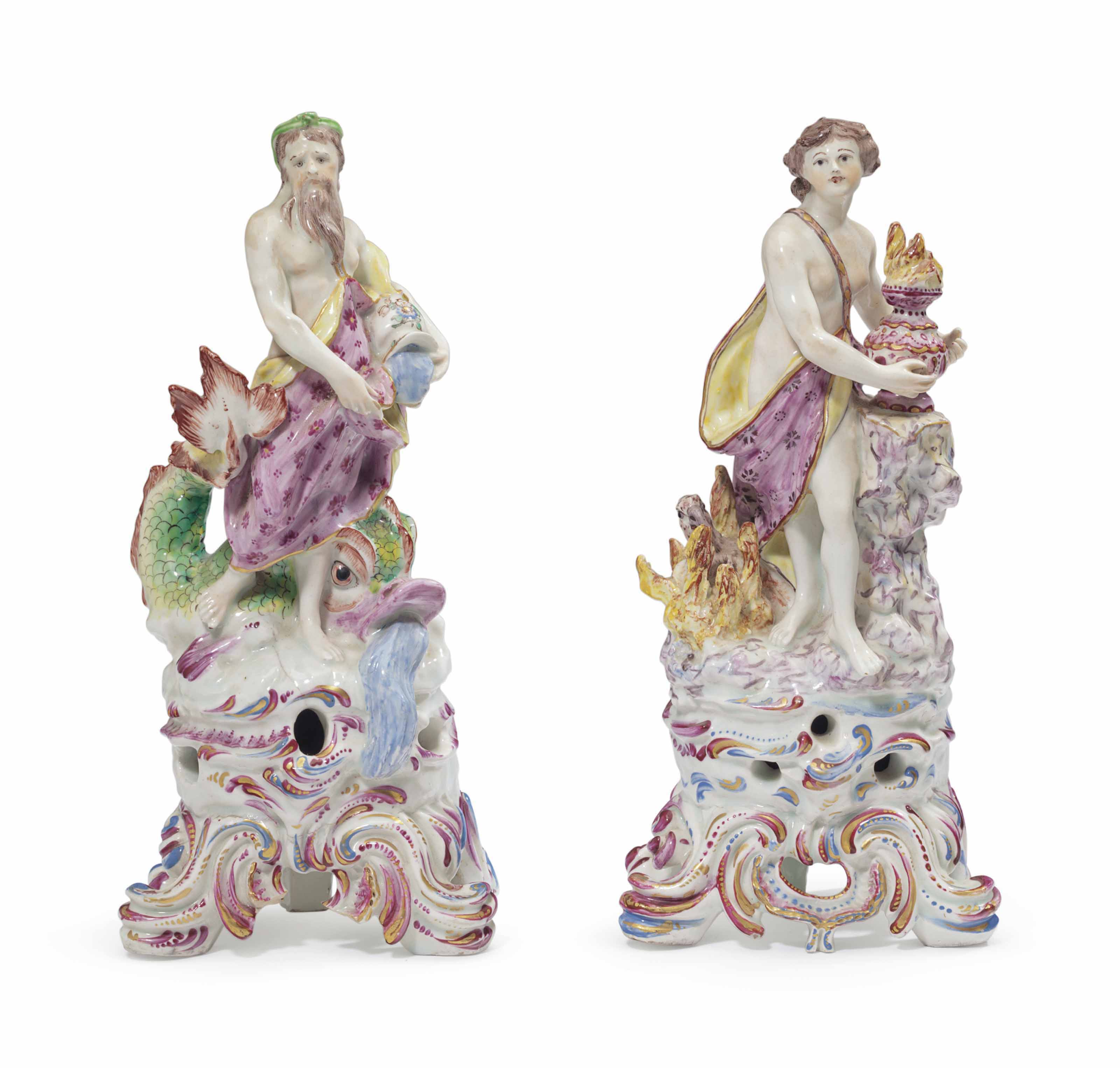 A PAIR OF BOW PORCELAIN ELEMENT FIGURES EMBLEMATIC OF FIRE AND WATER