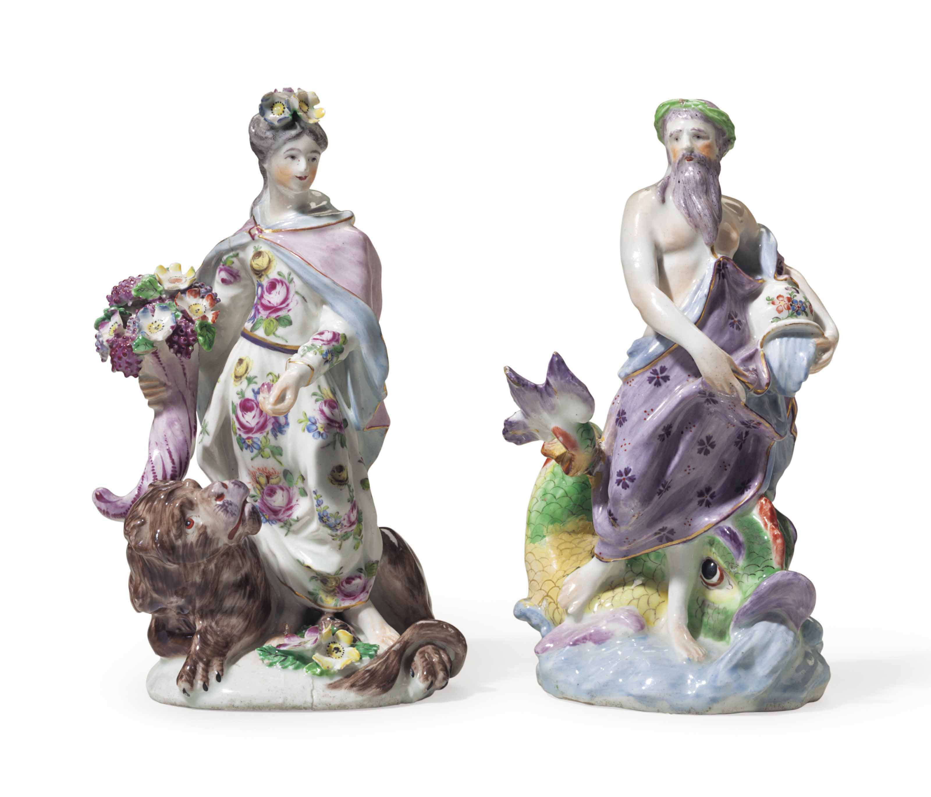 TWO BOW PORCELAIN FIGURES OF NEPTUNE AND FLORA EMBLEMATIC OF EARTH AND WATER