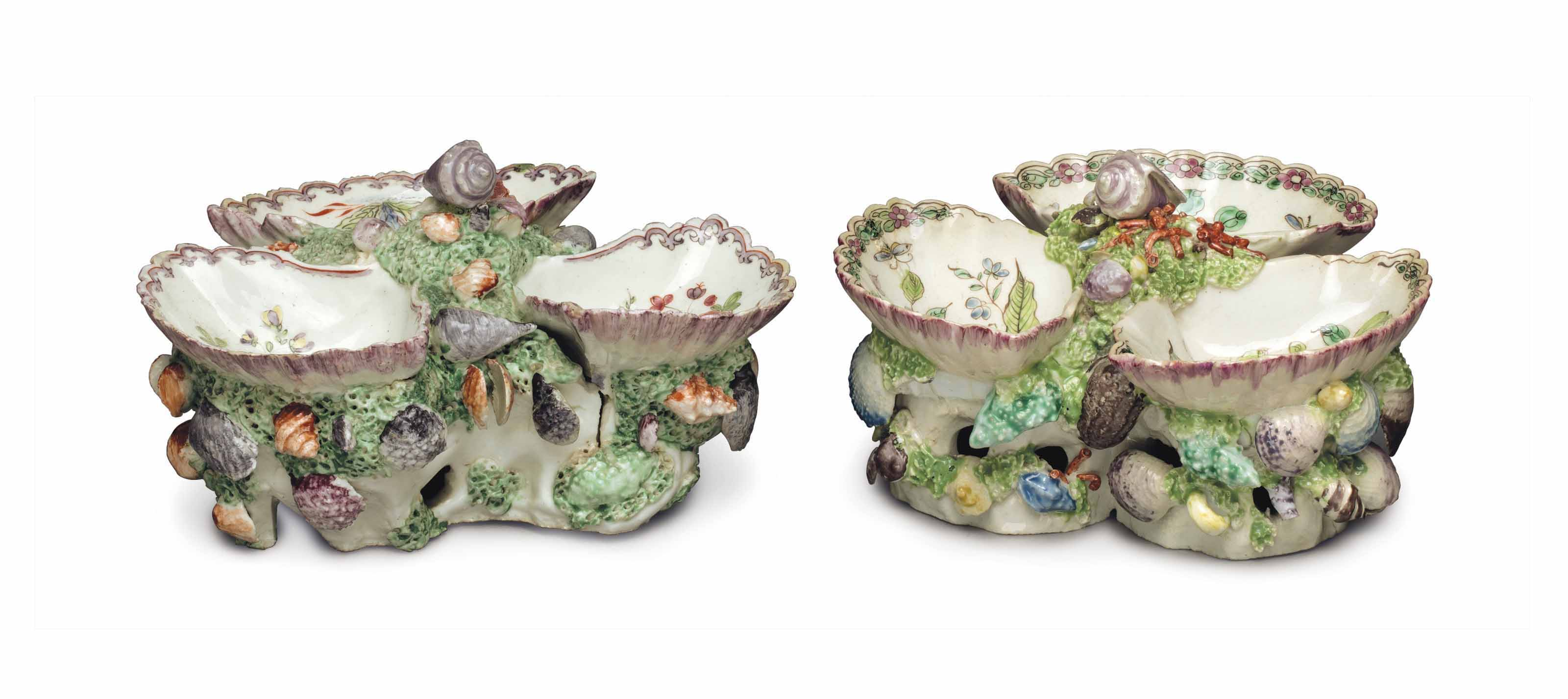 TWO BOW PORCELAIN SHELL-FORM SWEETMEATS