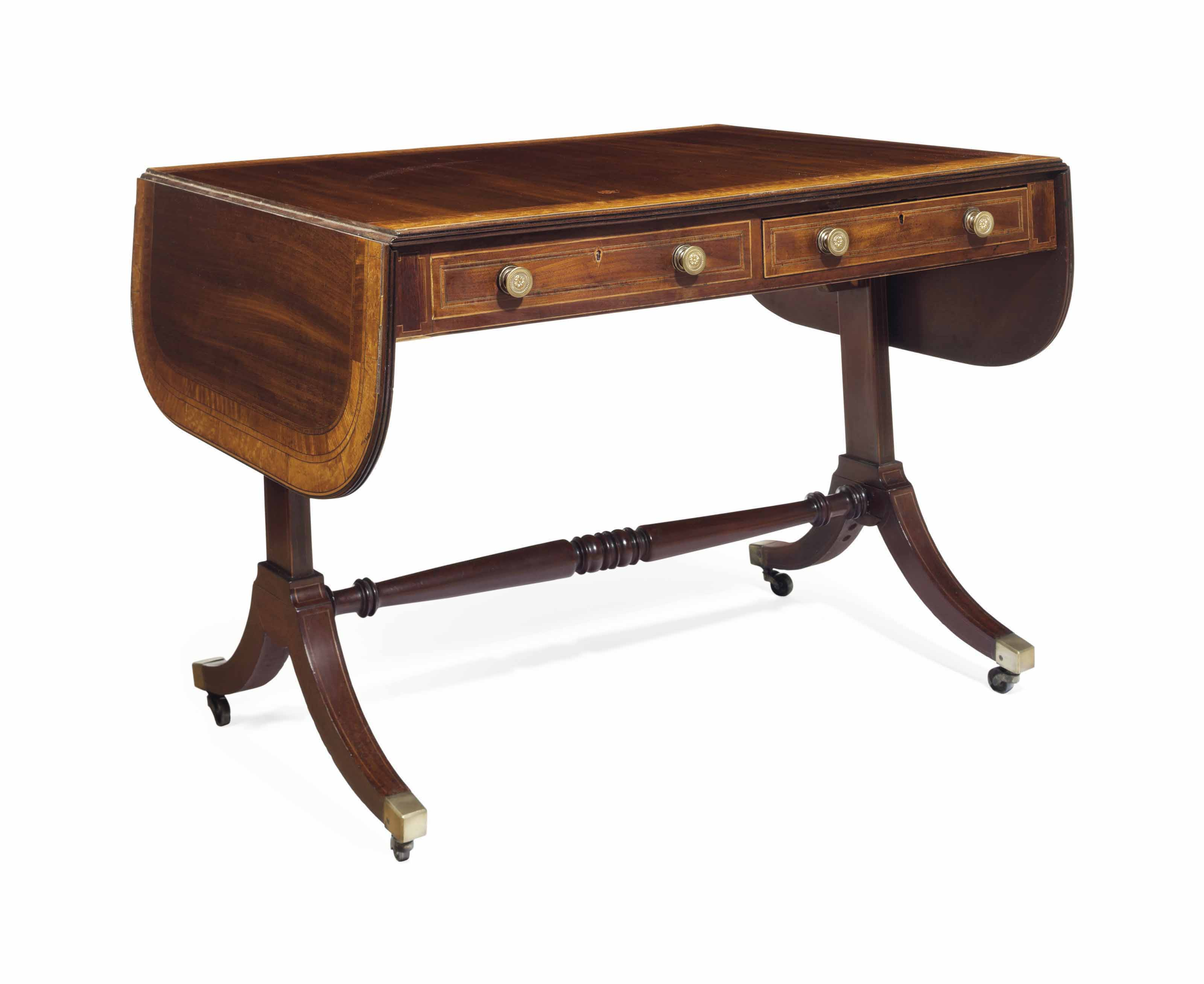 A LATE REGENCY MAHOGANY, BIRD'S-EYE MAPLE AND INDIAN ROSEWOOD SOFA TABLE