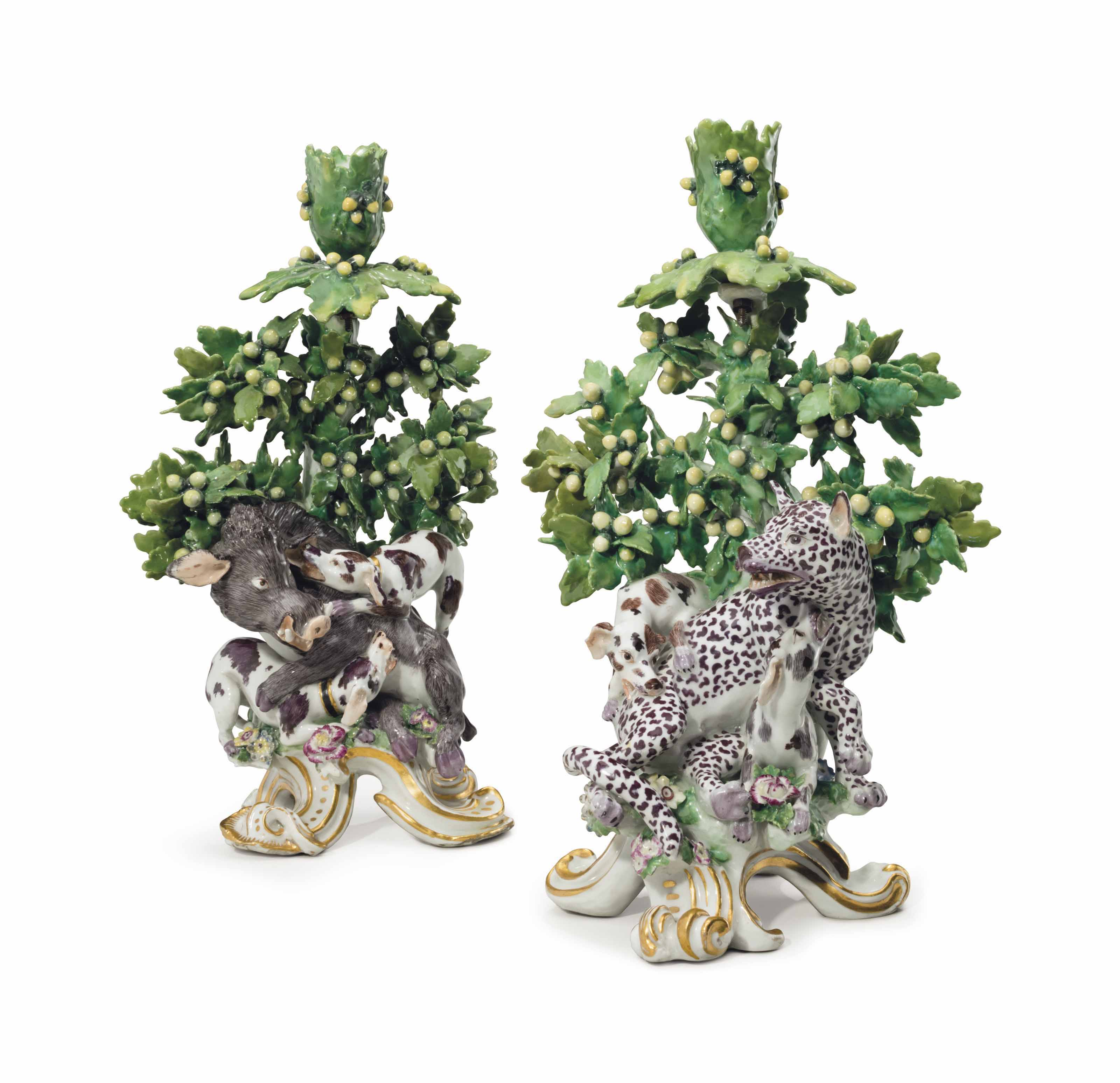 A PAIR OF CHELSEA PORCELAIN 'HUNTING' BOCAGE CANDLESTICKS