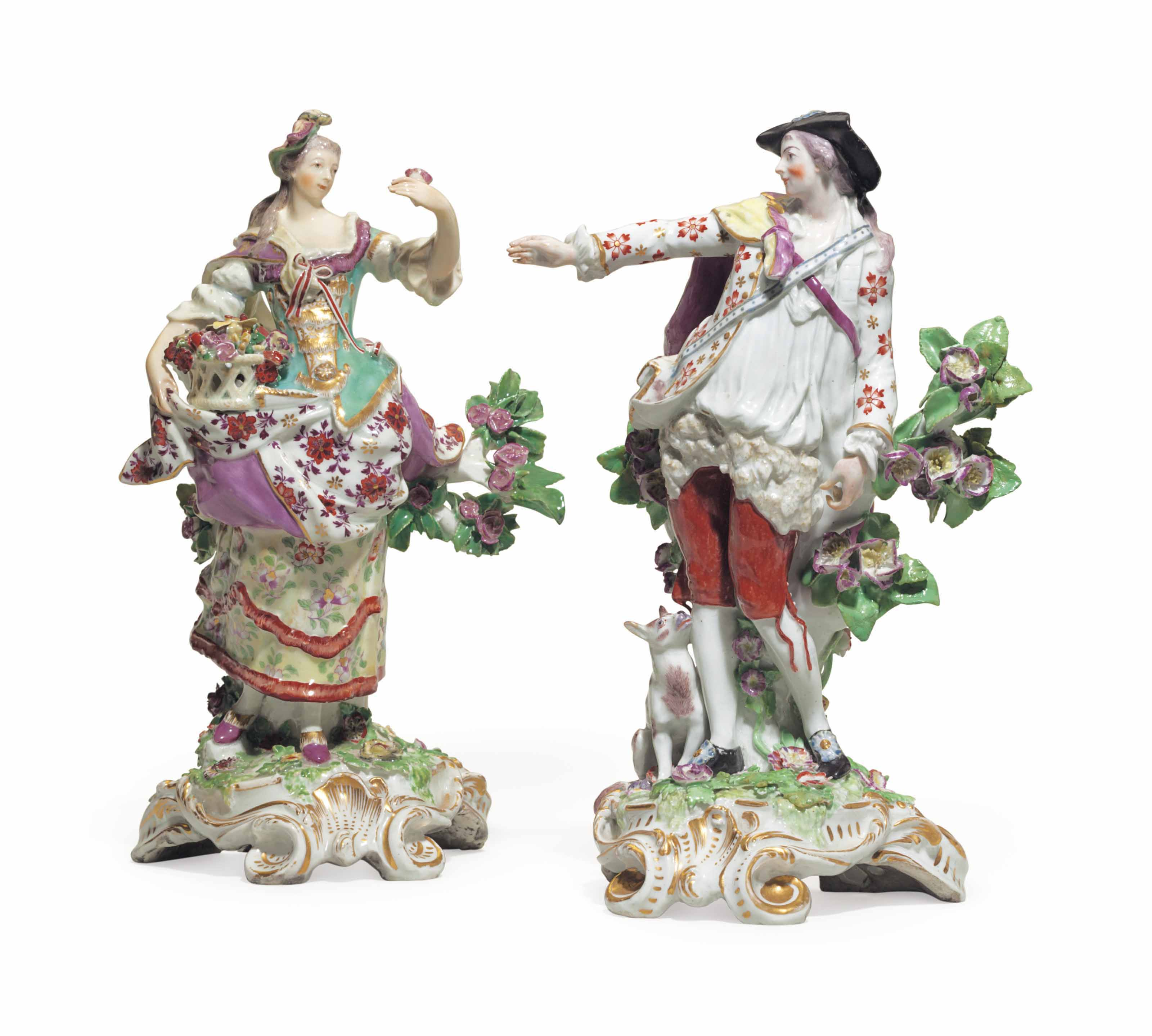 A pair of Chelsea porcelain figures of an imperial shepherd and shepherdess, circa 1765. 11¾  in (29.9  cm) high, the shepherdess. Sold for $6,875 on 10 May 2018 at Christie's in New York