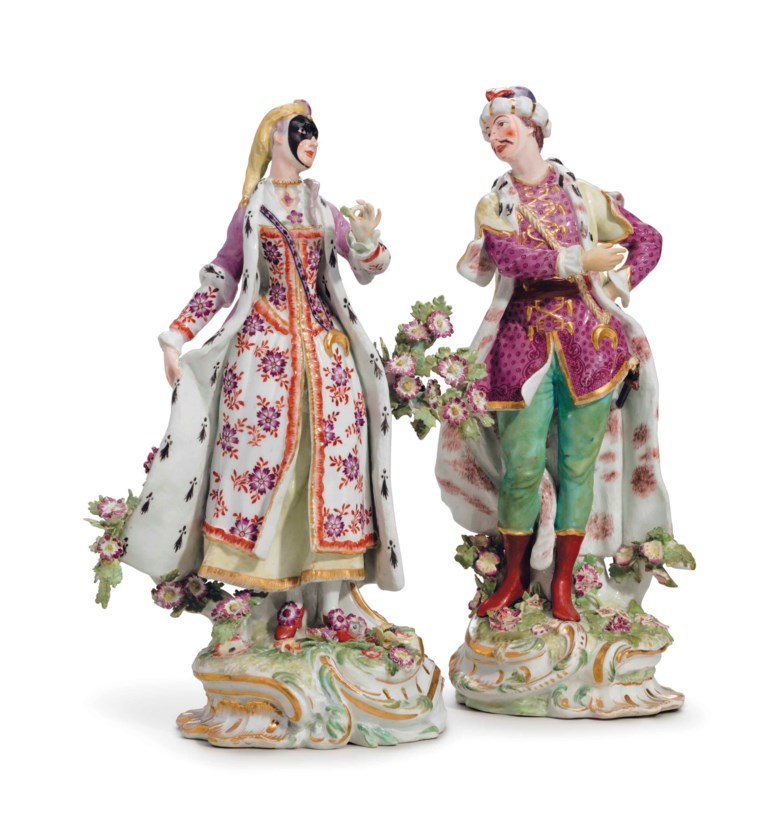 A pair of chelsea porcelain figures of vauxhall singers, Circa 1760, gold anchor marks at the back. 12 ¾  in (32.3  cm) high. Estimate $7,000-10,000. This lot is offered in The Collection of David and Peggy Rockefeller English & European Furniture, Ceramics & Decorations, Part II on 10 May at Christie's in New York
