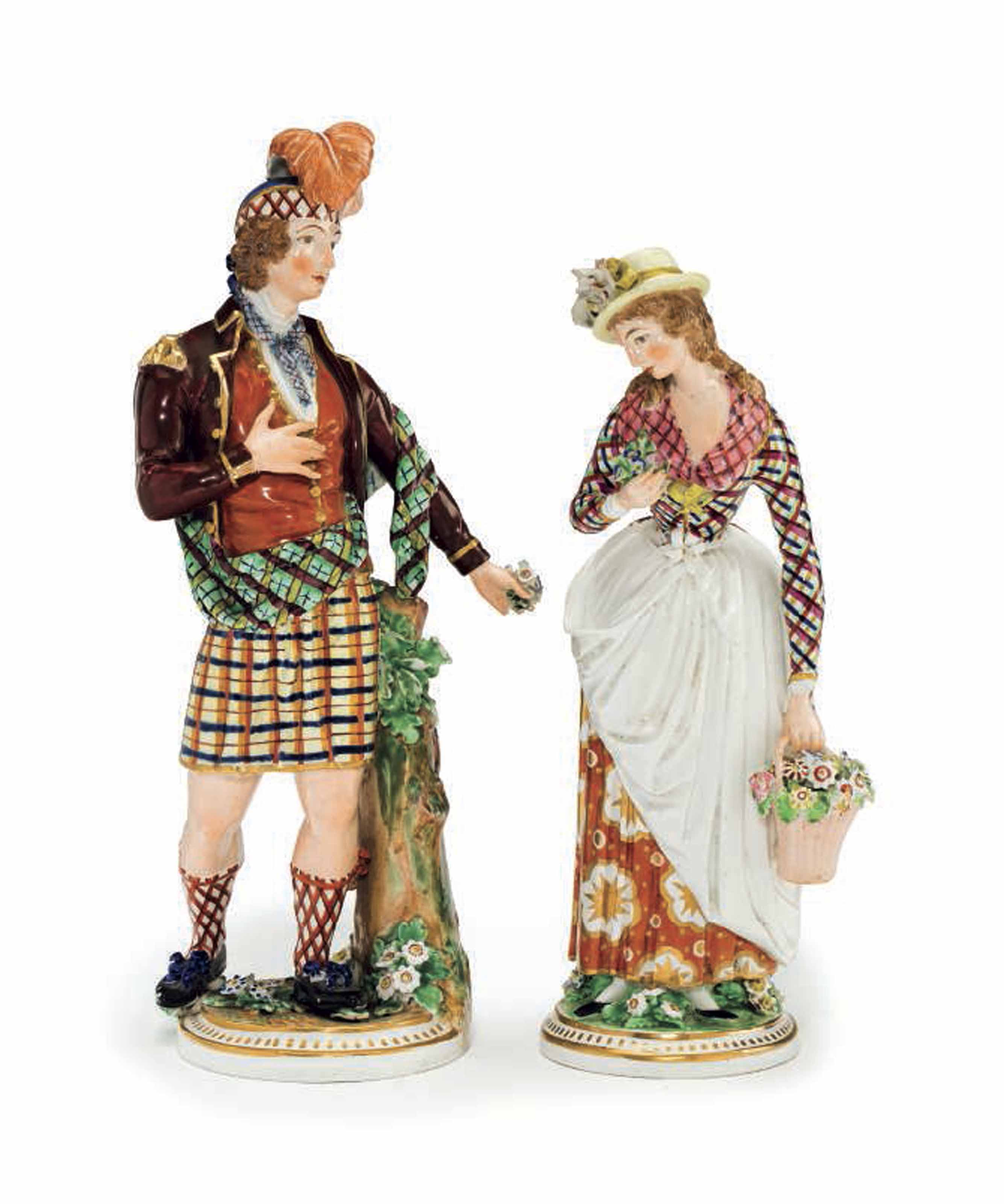 A PAIR OF DERBY PORCELAIN FIGURES OF A SCOTSMAN AND COMPANION