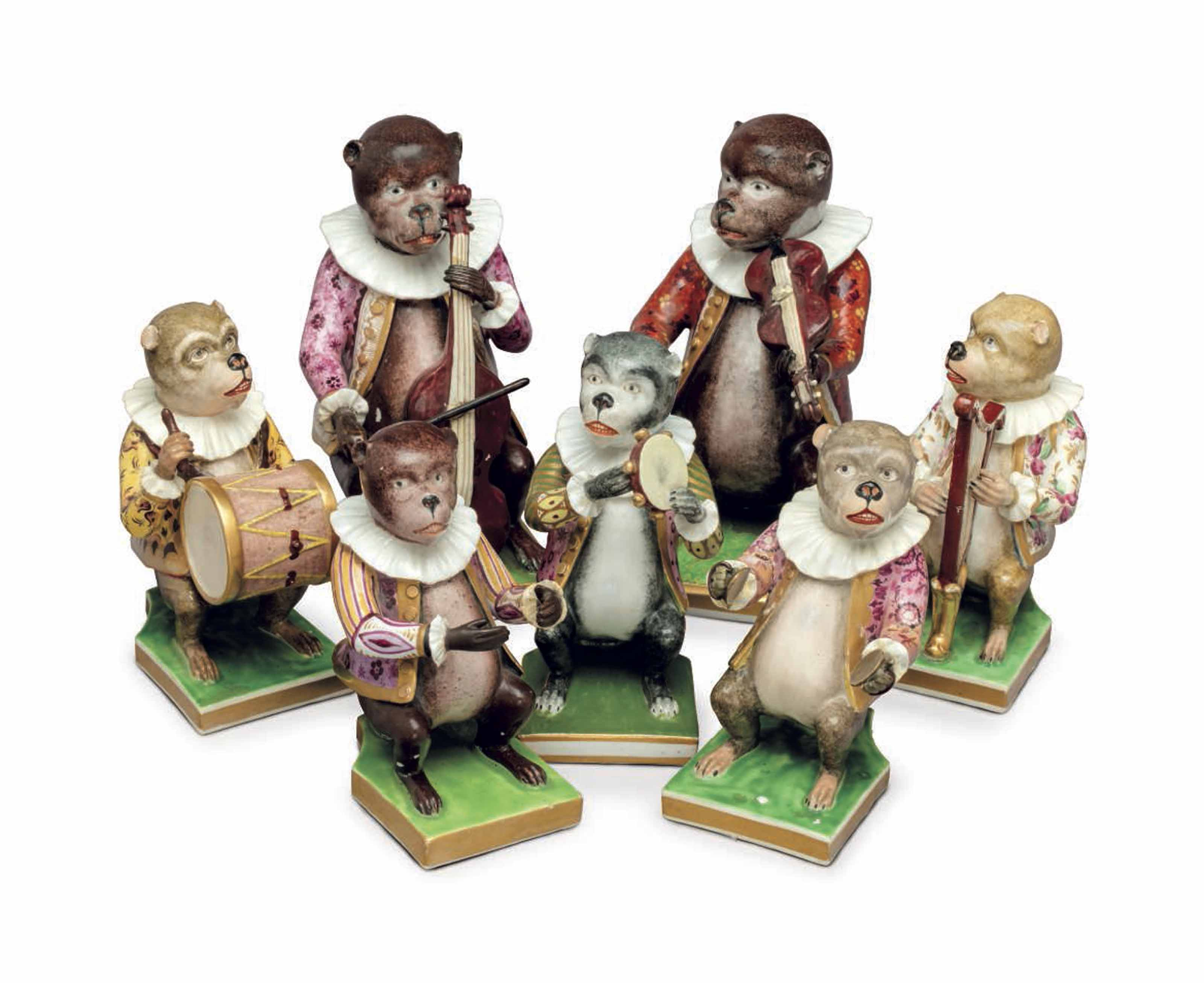 SEVEN DERBY PORCELAIN MODELS OF MUSICIANS FROM A MONKEY BAND