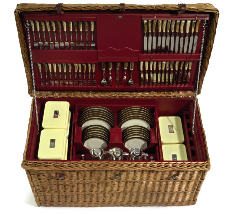 An English wicker picnic hamper, retailed by Asprey & Company, circa 1986. Sold for $212,500 on 10 May 2018 at Christie's in New York