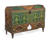 A MOROCCAN PAINTED PINE CHEST