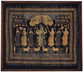 A PICHHVAI DEPICTING KRISHNA AND THE GOPIS IN THE FOREST OF