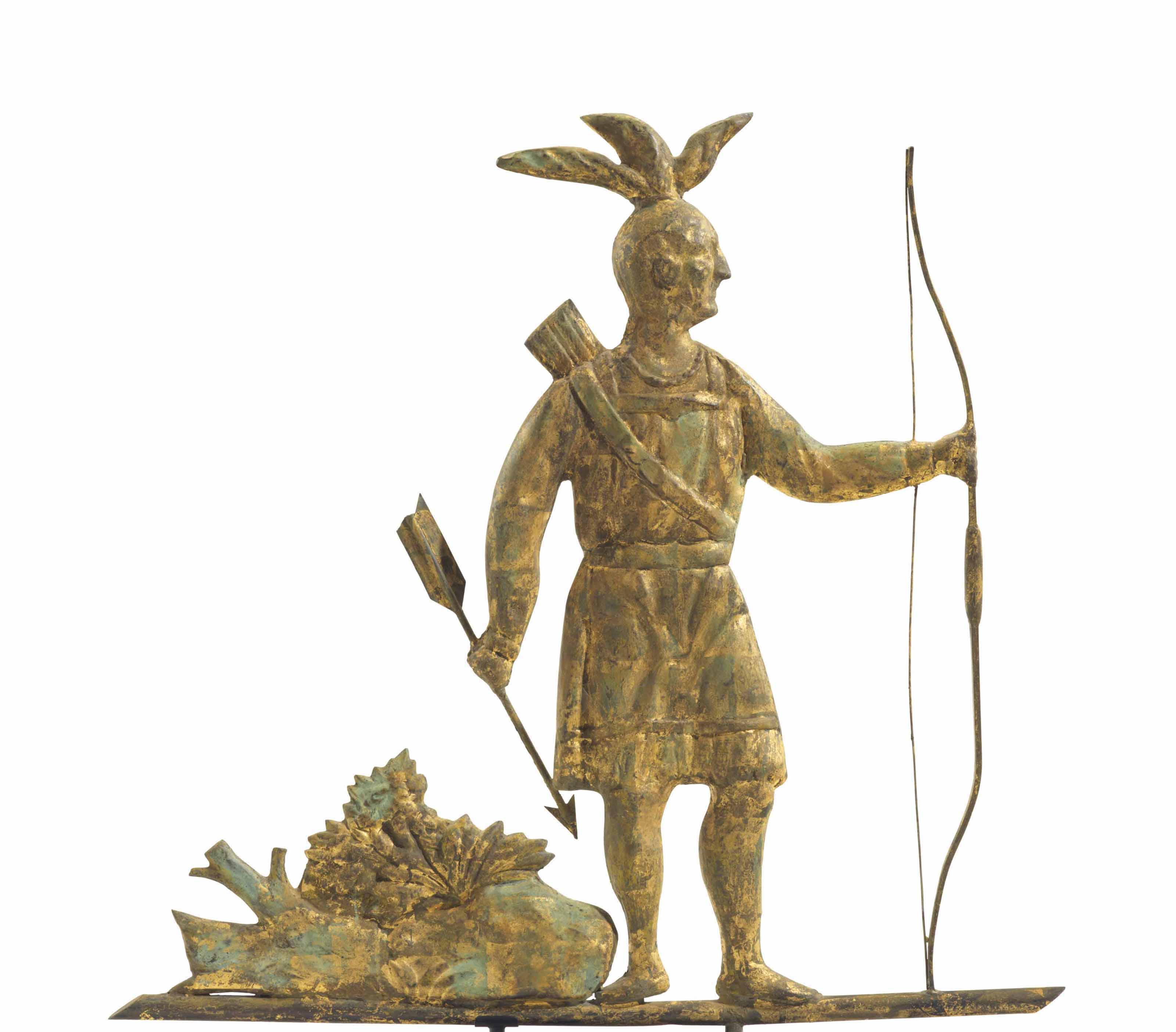 A MOLDED AND GILT-COPPER MASSASOIT INDIAN WEATHERVANE