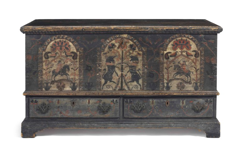 "A Pennsylvania German poplar and pine paint-decorated ""black-unicorn"" chest over drawers, Bern township, Berks County, Pennsylvania, 1790-1805. Estimate $40,000-80,000. This lot is offered in The Collection of David and Peggy Rockefeller Travel & Americana on 10 May at Christie's in New York"