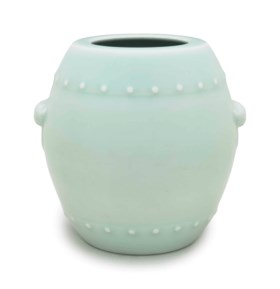 A CELADON-GLAZED DRUM-SHAPED VASE