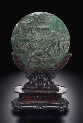A SUPERB WELL-CARVED SPINACH-GREEN JADE CIRCULAR TABLE SCREE